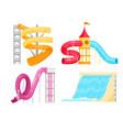 water amusement park slides pipe tubes set vector image