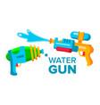 water gun set isolated flat cartoon vector image