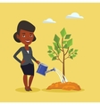 Woman watering tree vector image vector image