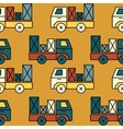 Seamless toy truck pattern with parcel vector image