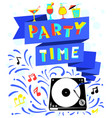 nightclub poster party time lettering vector image