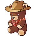 Teddy Bear Cowboy Cartoon Character vector image