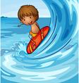 a boy surfing in the sea vector image vector image