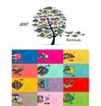 Art fish tree Design calendar 2017 vector image vector image