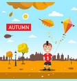 autumn - fall landscape with falling leaves happy vector image