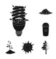 bio and ecology black icons in set collection for vector image