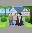 boy and his big dog vector image vector image