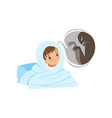 boy sitting on the bed and hiding from frightening vector image vector image