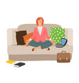 businesswoman resting meditation vector image vector image