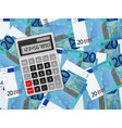 calculator on twenty euro background vector image vector image