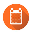 calendar icon on orange round background flat vector image vector image