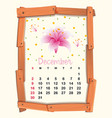 calendar template for december with pink lily vector image vector image