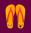 cartoon flip flops with smiles image summer vector image