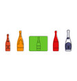 champagne icon set color outline style vector image