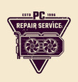 computer repair service emblem or badge vector image vector image