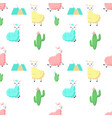 cute alpaca with cactus seamless pattern vector image