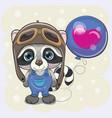 cute cartoon raccoon boy with balloon vector image