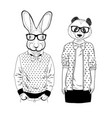 cute panda girl and smart rabbit in glasses vector image vector image