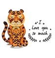 Cute tigers with text I love you so vector image vector image