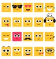 Emotional square yellow faces icon set vector image vector image