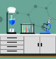 experiment in chemical laboratory vector image