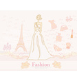 feminine doodles Shopping in Paris vector image vector image