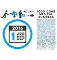 First 2016 Day Icon with 1000 Medical Business vector image