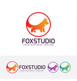 fox studio logo design vector image