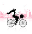 Girl with floral bouquet cycling in the city vector image vector image