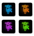 glowing neon scooter with screwdriver and wrench vector image