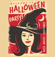 halloween witch party poster design vector image