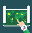 hand showing location on map flat map vector image vector image