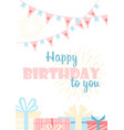 happy birthday to you greeting card flat vector image vector image