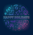 happy holidays round colorful outline vector image vector image