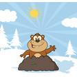 happy marmot cartoon character waving vector image vector image