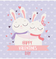 happy valentines day cute couple rabbits hugging vector image vector image