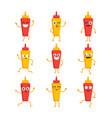 ketchup and mustard- set of mascot vector image vector image