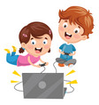 kids playing video game vector image vector image