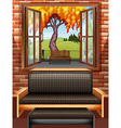 Living room with window open vector image