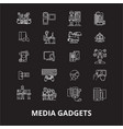 media gadgets editable line icons set on vector image vector image