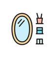 oval bathroom mirror flat color line icon vector image