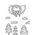 owl flying over forest trendy scandinavian vector image vector image