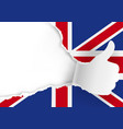 paper hand with thumb up and british flag vector image