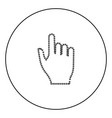 pixel hand black icon in circle outline vector image