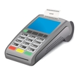 POS terminal and printed reciept on white vector image vector image