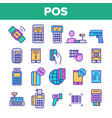 pos terminal mobile payment linear icons vector image vector image