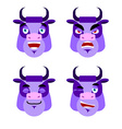Purple cow Emotions Set expressions avatar bull vector image vector image