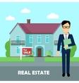 Real estate broker at work Building for sale vector image vector image