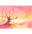 Romantic landscape with tree and sunset vector image vector image