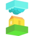 Rural house in cloudy weather vector image vector image